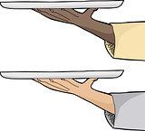 Hand Holding Tray
