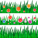 set of banners with repeating pattern tile of grass and flowers