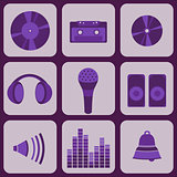 set collection of nine purple music icons