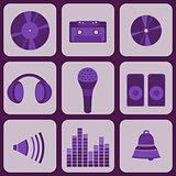 set collection of nine purple music icons