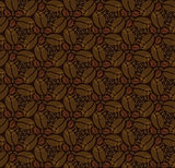 seamless pattern with coffee beans on dark broun background
