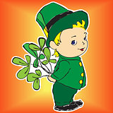 boy with three leaves clover