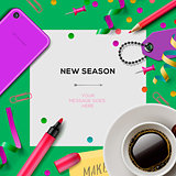 New season template with office supplies,