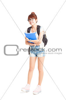 cute asian college student studio portrait