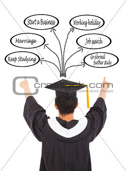 graduation man  select his future road