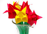 Paper tulips in vase