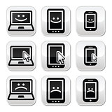 Laptop, tablet and phone with cursor arrow, happy and sad faces