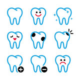 Tooth , teeth vector icons set in color