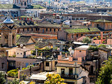 Rome panorama with green roof gardens