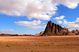 "The ""Seven Pillars of Wisdom"" rock formation, Wadi Rum Desert be"