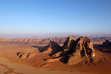 Wadi Rum Desert beautiful landscape from above. Jordan.