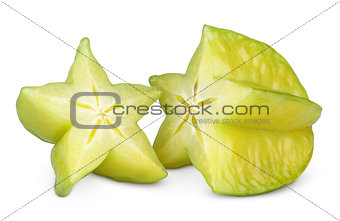 Carambola or starfruit on white