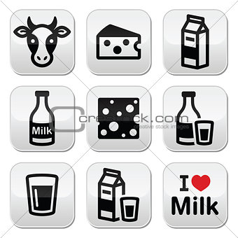 Dairy products - milk, cheese vector buttons set