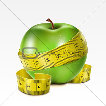 Apple with centimeter