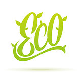 Eco hand written label calligraphy. Vector