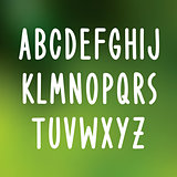 Hand drawn font type. Vector alphabet