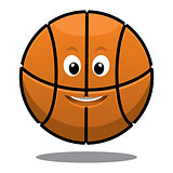 Bouncing happy brown basketball ball