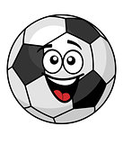 Goofy soccer ball with a big happy smile
