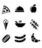 Black and white food icons
