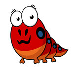 Cartoon caterpillar with big eyes