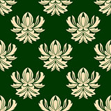 Green and beige seamless arabesque pattern