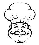 Smiling chef with a large curly moustache