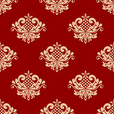Beige and red floral damask seamless