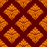 Red and orange floral seamless pattern