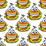 Seamless cartoon cheeseburger pattern