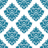 Ornate blue damask style floral pattern