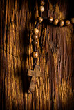 Wooden rosary beads hanging