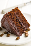 dark chocolate cake with coffee beans