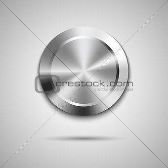 Circle button template with metal texture