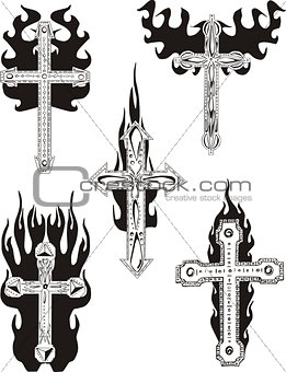 Crosses with flames