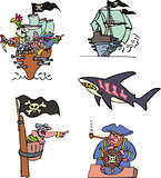 Pirate ships and sea