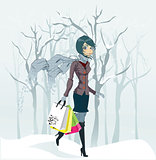 Winter girl and snowfall. Vector illustration