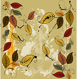 Autumnal leaves seamless background