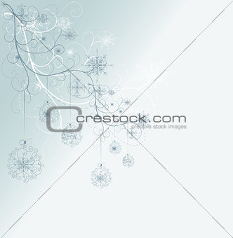 blue card with christmas snowflakes, vector illustration