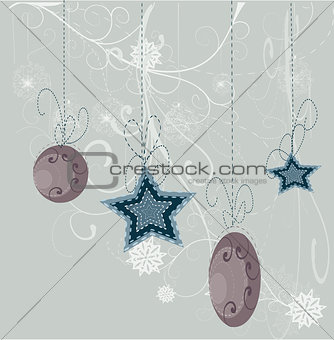 card with Christmas balls