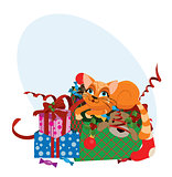 Cute Christmas cat - vector illustration.