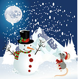Snowman and mouse christmas background
