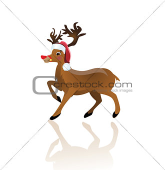 Cartoon reindeer on white background - vector illustration.