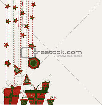 card with Christmas balls