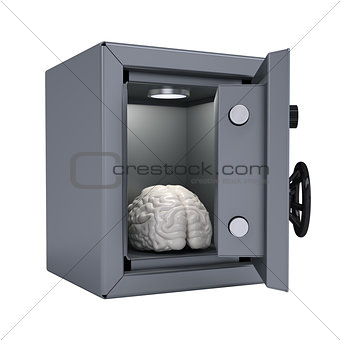 Brain in an open metal safe