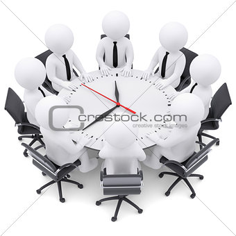 3d white people sitting at the round table