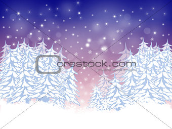 Christmas card with firs