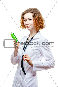 cute redhead doctor in lab coat with syringe