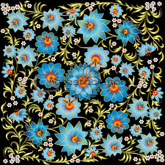 abstract spring floral ornament isolated on black background