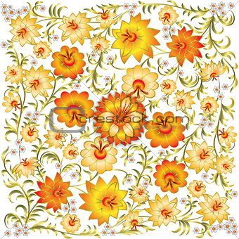 abstract spring floral ornament isolated on white background