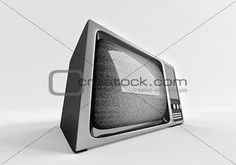 3d model of retro tv with static.